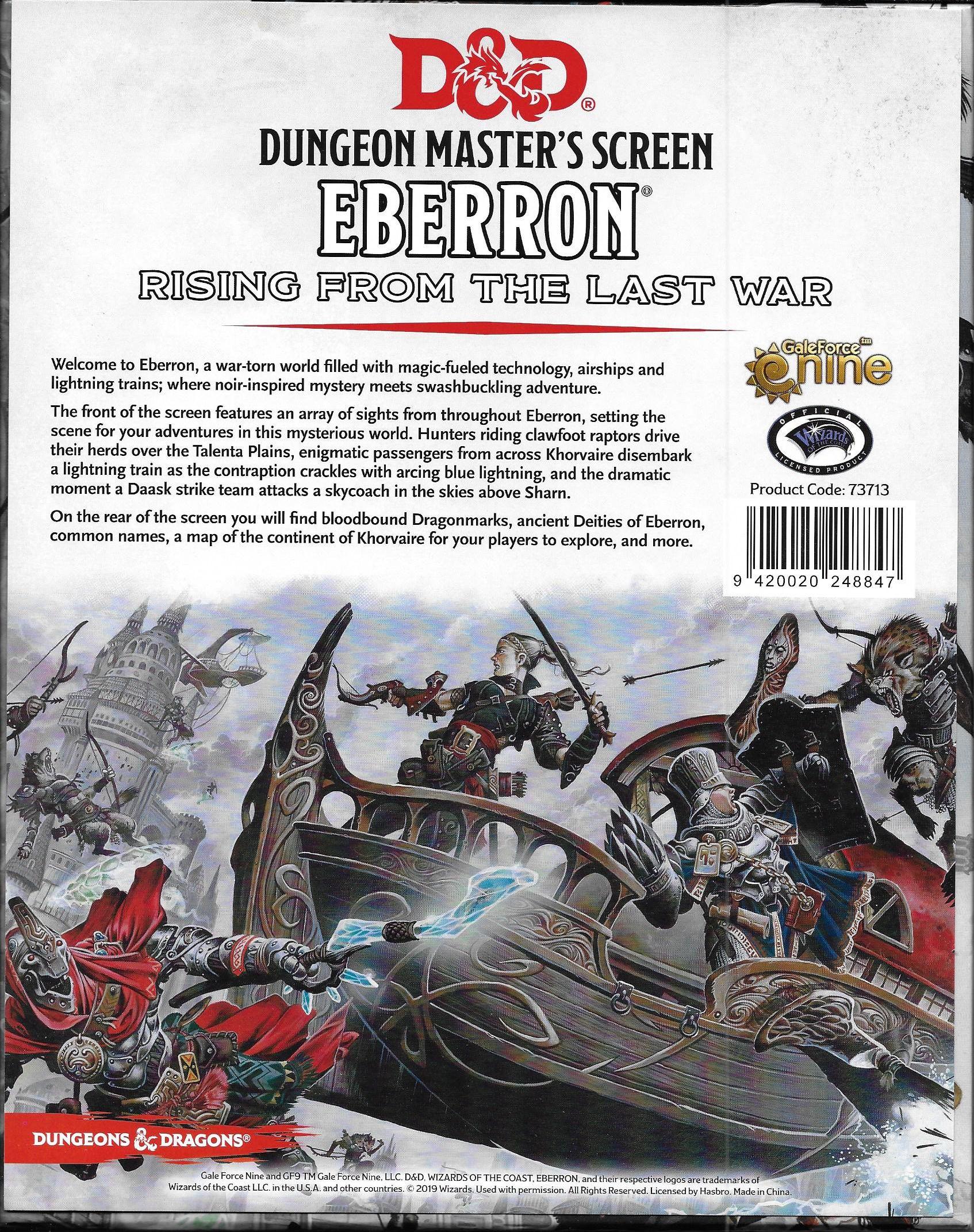 D&D Dungeon Masters Screen Eberron