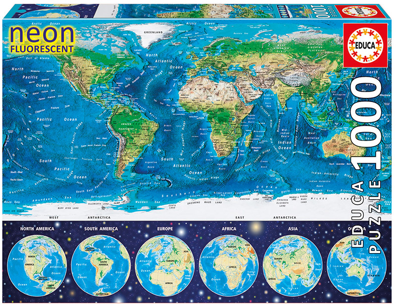 "Pusle ""Neon World Map"" 1000 tk"