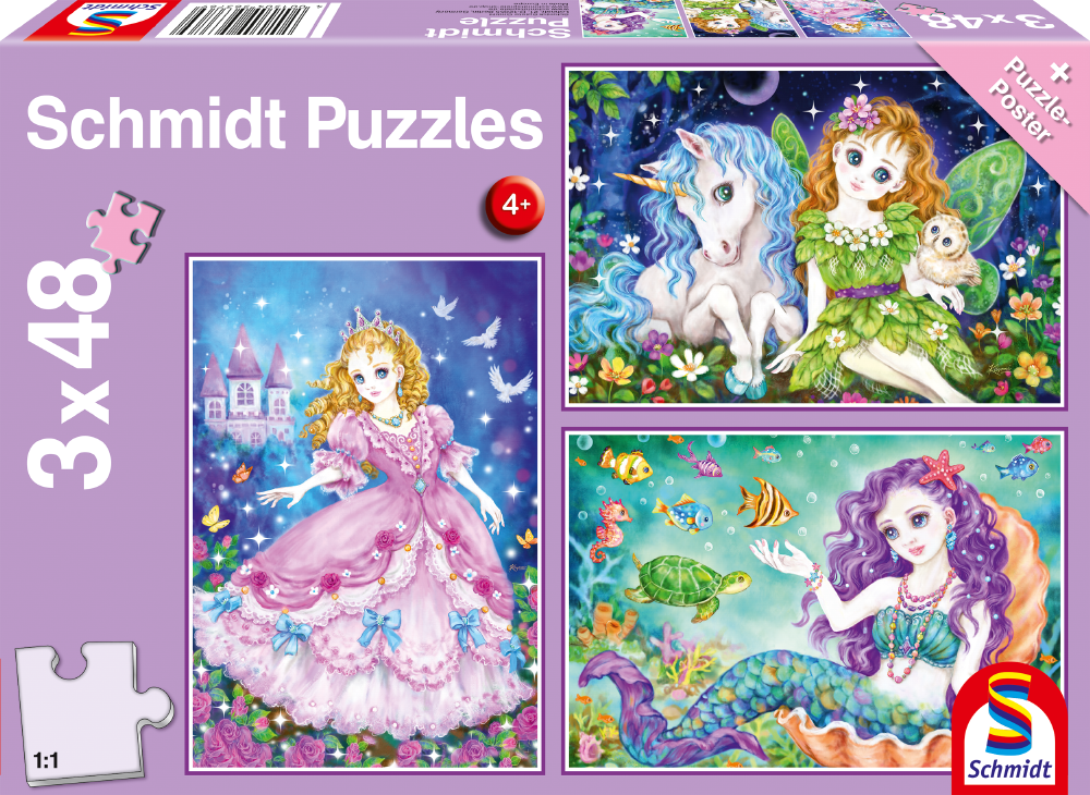 "Pusle ""Princess, fairy and mermaid"" 3x48 tk"