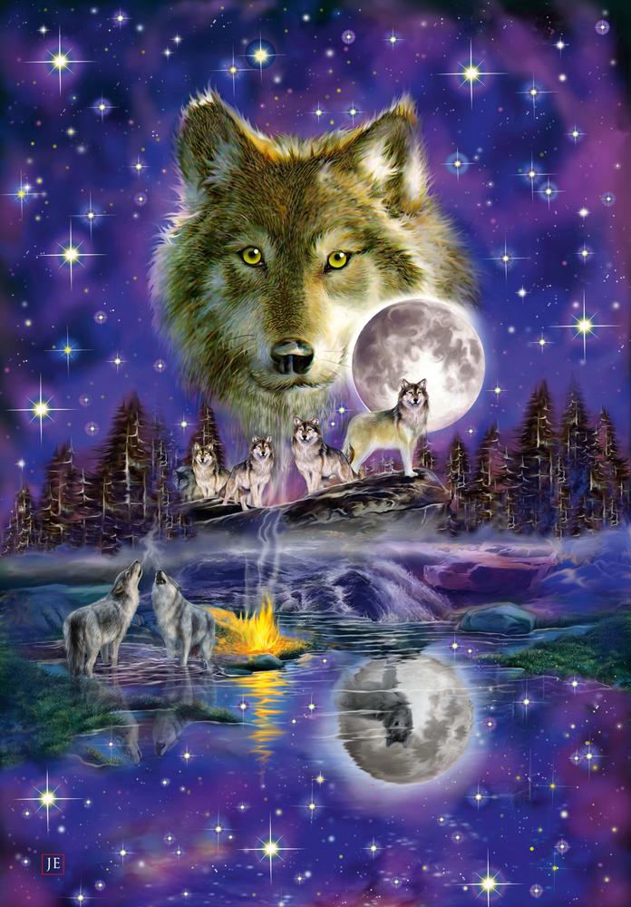Pusle Wolf im Mondlicht, 1000