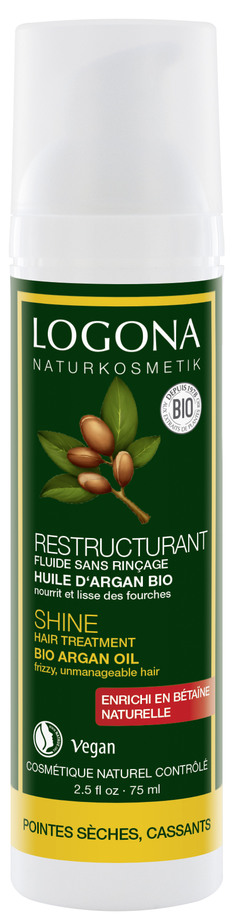 Argaaniaõliga juukseotste hooldusvahend Logona, 75 ml