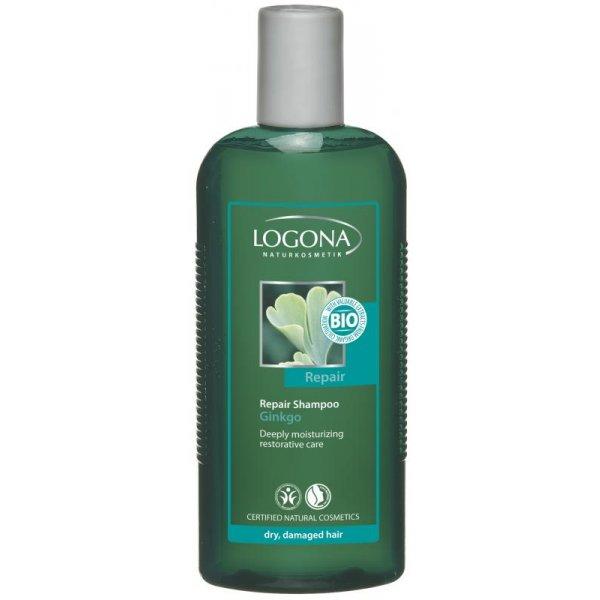 Taastav šampoon Ginkgo kuivadele ja kahjustatud juustele Logona, 250 ml