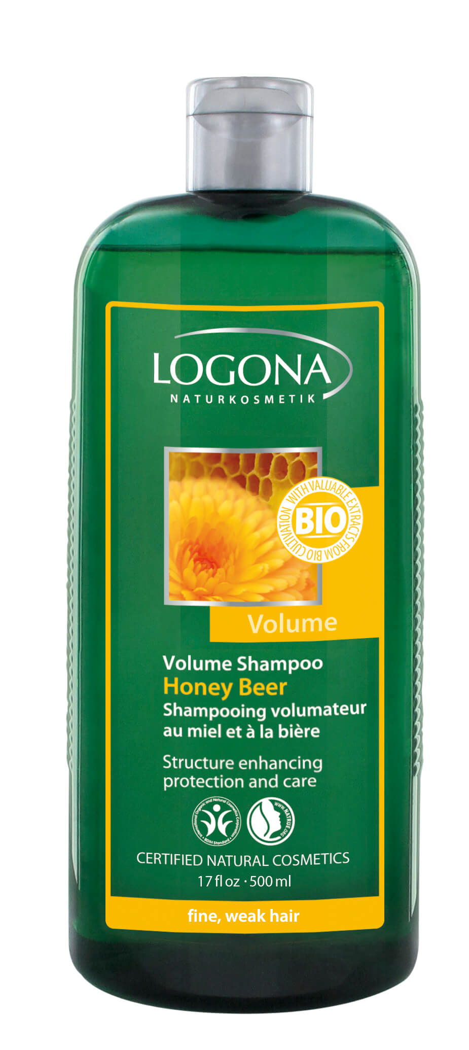 Mee-õlle volüümi lisav šampoon peenikestele ja habrastele juustele Logona, 500 ml