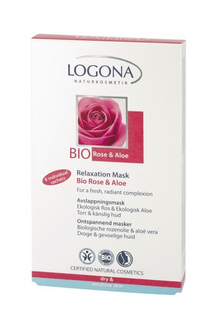 Rose & Aloe lõdvestav näomask Logona, 2 x 15 ml