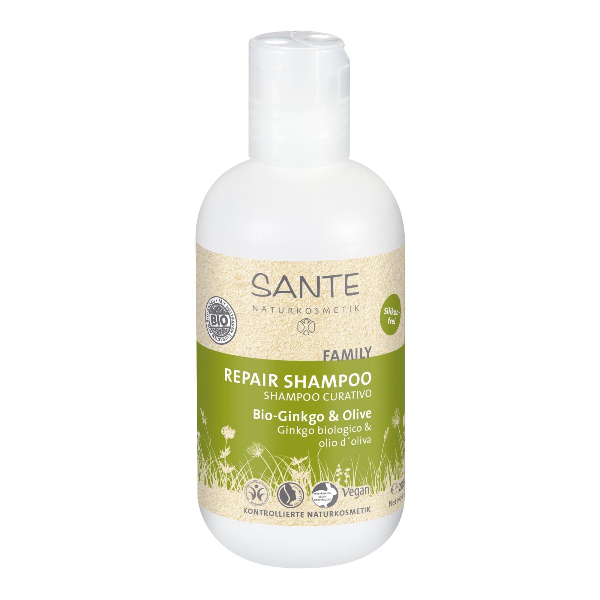 Bio Ginkgo & oliivi hooldav šampoon Sante, 200 ml