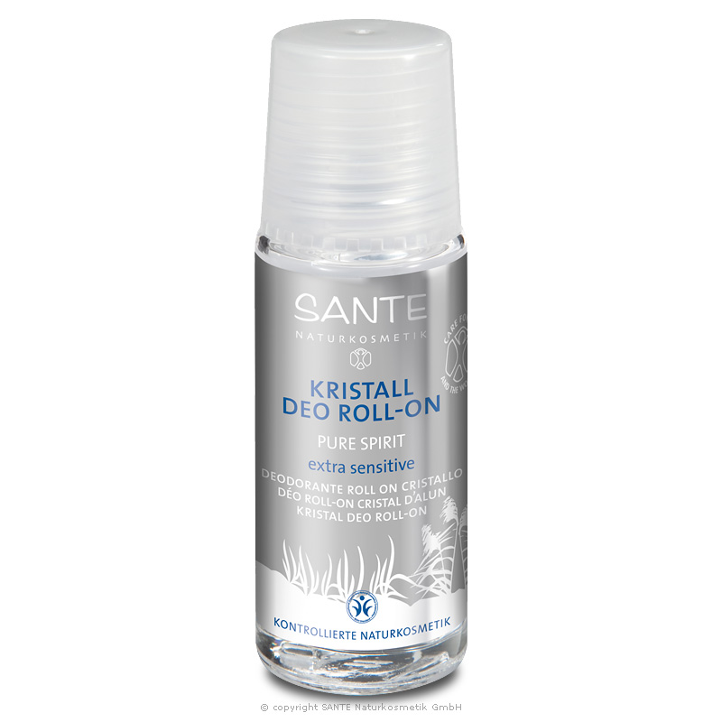 Kristall roll-on deodorant Pure Spirit klaaspudel Sante, 50 ml