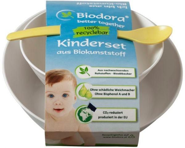 Laste nõudekomplekt (2 kaussi + lusikas), Biodora