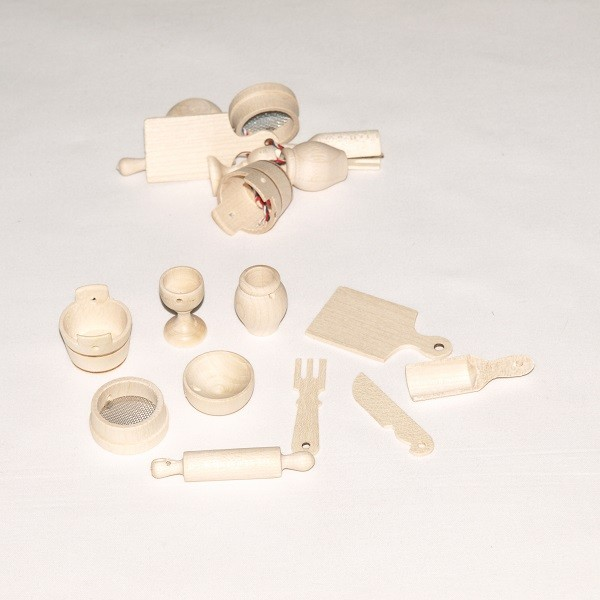 Laste miniatuursed mängunõud puidust Redecker, 1 tk
